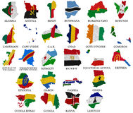 Africa countries flag maps Part1. Africa countries(From A to L) flag maps on a white background Royalty Free Stock Photo