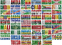Africa countries flag words. On a white background Stock Photo