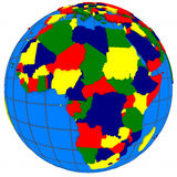 Africa countries on globe Stock Image