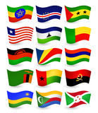 Africa country flying flags set part 3 Royalty Free Stock Photography