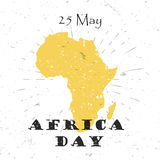 Africa Day, 25th of May concept with silhouette of the continent and Lettering Typography with burst on a Old Textured Royalty Free Stock Photos