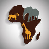 Africa design. map shape icon. animals illustration. Africa represented by his own map design over isolated and flat illustration Royalty Free Stock Photos