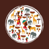 Africa design. seal stamp shape. culture  icon set Stock Photography