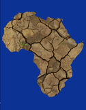 Africa Drought. An outline of Africa in an arid parched condition Stock Photos