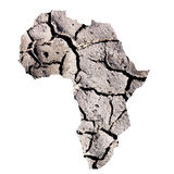 Africa drought. Africa continent overlay on dry cracked earth for an arid concept stock image