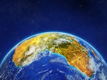 Africa on Earth with borders. Africa on planet planet Earth with country borders. Extremely detailed planet surface and clouds. 3D illustration. Elements of this royalty free illustration