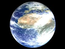 Africa on an earth globe. 3D rendering of africa on a nearth globe with clouds Stock Image
