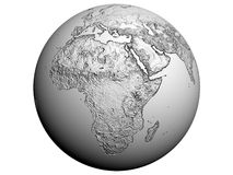 Africa on an earth globe. 3D rendering of africa on a white earth globe Stock Images