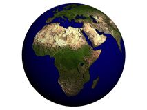 Africa on an earth globe Royalty Free Stock Photo
