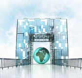 Africa earth globe under grand entrance gateway building Royalty Free Stock Photos