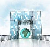 Africa earth globe under grand entrance gateway building. Illustration royalty free illustration