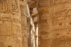 Africa, Egypt, Luxor, columns of Karnak temple with ancient hieroglyphics Stock Image