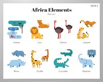 Africa elements flat pack. Africa vector illustration in flat color design vector illustration