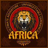 Africa - Ethnic poster. Vector illustration. Africa - vector emblem on dark background. Vector illustration Royalty Free Stock Photography