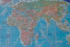 Africa and Eurasia on the map of the world stock image