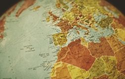 Africa, Europe and other continents on a earth globe , focus on Spain. A globe earth focus on Spain. Also there are other countries and continents such as stock photography