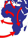 Africa Expansion Market Trade Routes Business Map Stock Image