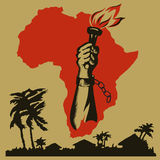 Africa is fighting for freedom. Hand with torch against Africa Stock Photography