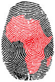 Africa-fingerprint. Fingerprint with the contour of  Africa Stock Photography