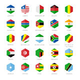Africa Flag Icons. Hexagon Flat Design. Royalty Free Stock Image