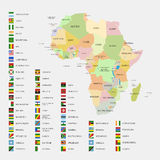 Africa flags and map Royalty Free Stock Photos