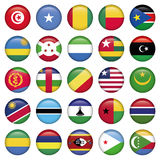 Africa Flags Round Buttons Stock Photography