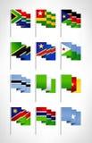 Africa flags set. Cartoon flat design 2 Royalty Free Stock Image
