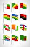 Africa flags set. Cartoon flat design 3. Vector illustration Royalty Free Stock Photo