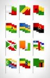 Africa flags set. Cartoon flat design 3 Royalty Free Stock Photo