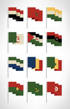 Africa flags set. Cartoon flat design with vintage colors 1. Vector illustration Stock Photography