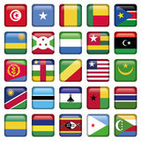 Africa Flags Square Buttons. Zip includes 300 dpi JPG, Illustrator CS, EPS10. Vector with transparency Royalty Free Stock Photo