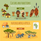 Africa 2 flat banners set Stock Images