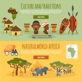 Africa 2 flat banners set vector illustration