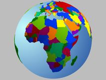 Africa globe map. With the country in different colors Royalty Free Stock Photo