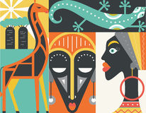 Africa. Graphical illustration of african symbols made in flat style vector. Welcome to Africa concept Royalty Free Stock Photography