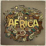 Africa hand lettering and doodles elements Stock Photography