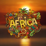 Africa hand lettering and doodles elements Stock Image