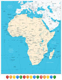 Africa highly detailed map and colored map pointers Royalty Free Stock Photography