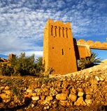 Africa  in histoycal maroc  old construction  and the blue cloud Royalty Free Stock Photo