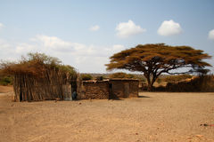 Africa houses in savanna Stock Photography