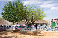 Africa hut. Brightly painted traditional ndebele hut in south africa Royalty Free Stock Photography