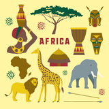 Africa icons set. Colorful Africa elements and icons set. Vector illustration, EPS 10 Stock Photos