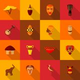 Africa icons set flat Stock Photos