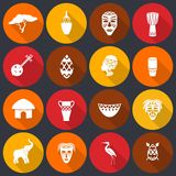 Africa icons set flat Stock Images