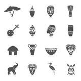 Africa icons set stock illustration