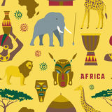 Africa icons set pattern. Colorful Africa icons set pattern. Vector illustration, EPS 10 Stock Photo