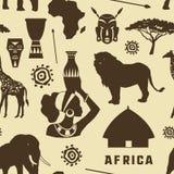 Africa icons set pattern Stock Photos