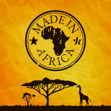 Africa illustration with tree and giraffe silhouette Stock Images