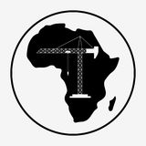 Africa industrialization day. Africa industry with map. Black silhouette with isolated background. Flat  stock illustration Royalty Free Stock Image