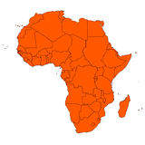 Africa and islands. Editable map of Africa and islands Royalty Free Stock Photo
